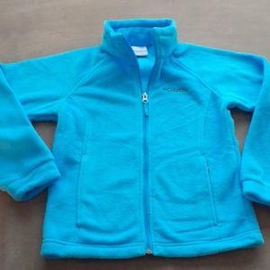 Columbia aqua blue zip front fleece jacket 7/8